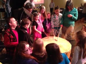 Drum worship with the kids at Evangel